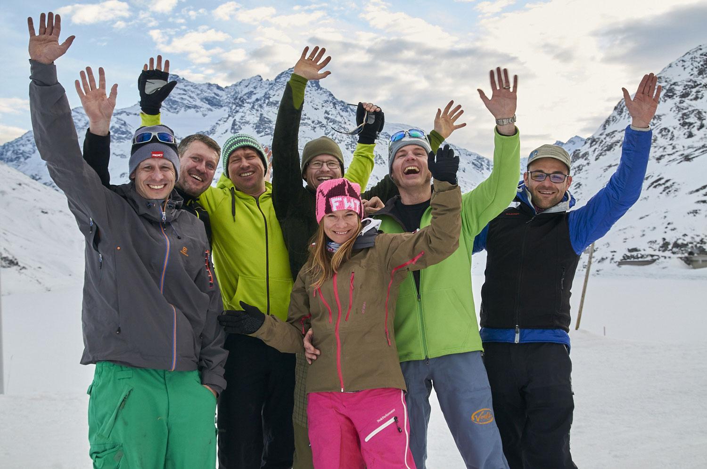 Das Team von Splitboards Europe v.l.n.r. Volker, Olli, Boris, Stephan, Eliane, Simon und Dirk